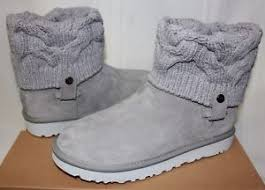 ugg womens knit boots ugg s saela seal knit grey boots 1019014 with box ebay