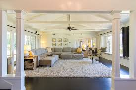 Cottage Family Room With Carpet  Exposed Beam In Studio City CA - Cottage family room