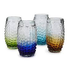 center stripe tumblers set of 6 mouth blown drinking glasses