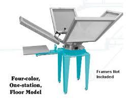 econo tex 4 color 1 station textile screen print press w base