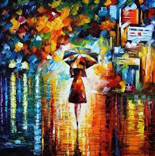 rain princess u2014 palette knife oil painting on canvas by leonid