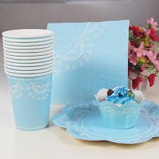 Nautical Themed Dinnerware Sets - 56pcs lot disposable flower paper plates for wedding cups cake wrappers napkins decorative font b dinnerware jpg