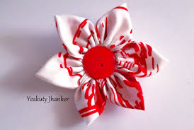 How To Make Flower Hair Clips - diy how to make a kanzashi fabric flower hair clip youtube