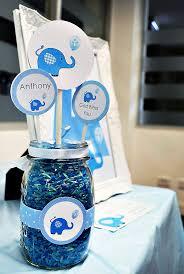 centerpieces for baptism blue elephant dessert table boys christening hostess