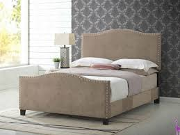 Beige Upholstered Bed Nailhead Trim Beige Upholstered Bed By Glory Furniture
