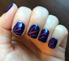 letter n nail art blue with pink lines using zoya essence mary