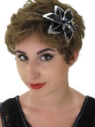 headband flower silver sequin black beaded flower headband blue velvet vintage