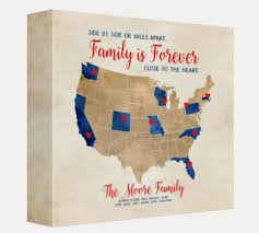 family gifts quote about families distance map gift