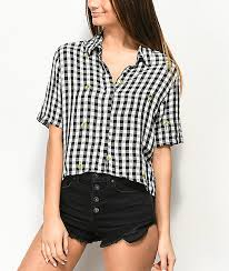 dizzy lizzy gingham palm tree sleeve top zumiez