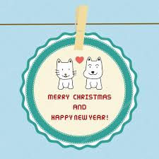 cat and dog in love merry christmas and happy new year card
