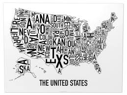 United States Map Black And White by United States Typographic Map Original Artwork By Ork Posters