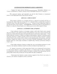 legal agreement contract contingent fee representation agreement