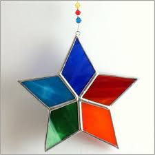 Stained Glass Christmas Window Decorations by Rainbow Star Stained Glass Suncatcher Christmas Tree Ornament