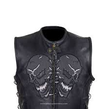 mens leather moto jacket men u0027s motorcycle reflective skull leather blk vest w 2 gun pockets