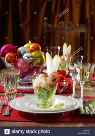 Formal Table Setting Christmas Prawn Cocktail Formal Festive Table Setting Editorial
