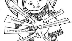 rosary of the seven sorrows our of the rosary coloring page immaculate heart coloring pages
