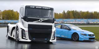 big volvo truck truck versus race car track battle outcome is impossible to