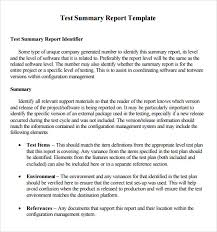 summary report template sle summary report 7 documents in pdf