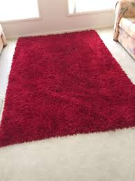 shaggy rug red circle 2m round shag plush large floor carpet 195