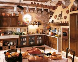 Rustic Kitchens Ideas Rectangle Black Granite Island Top Refrigerator Gas Range Wall