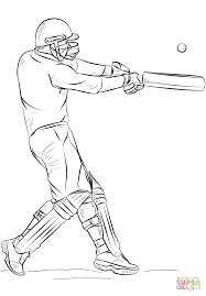 cricket player coloring page free printable coloring pages