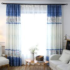 Fish Curtains Blue And White Fish Print Linen Cotton Blend Window Curtains