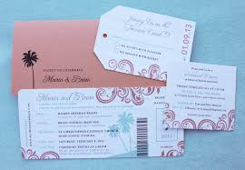 boarding pass save the date coral turquoise swirls palm trees boarding pass wedding