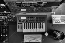 music studio flat top lay home music studio dj and producer equipment on the