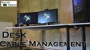 how to cable manage a desk desk cable management tips and tricks youtube