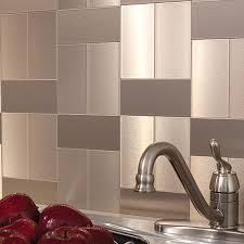 sticky backsplash for kitchen aspect peel and stick backsplash tiles in glass and metal