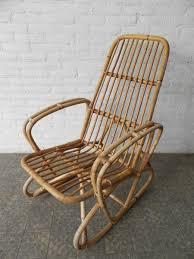 banquette rotin vintage fauteuil à bascule vintage en bambou et rotin en vente sur pamono