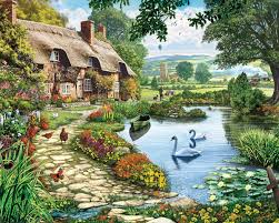 amazon com white mountain puzzles lakeside cottage 1000 piece