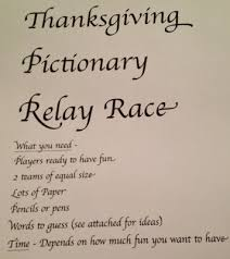 Thanksgiving Relay Thanksgiving Family Pictionary Relay Race With Free Printable