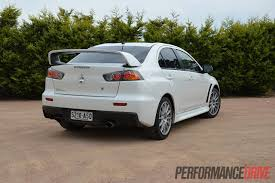 mitsubishi evolution 10 2013 mitsubishi lancer evo x rear side