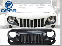 jeep grill logo angry save 32 opar front matte black eagle eye grille w mesh insert