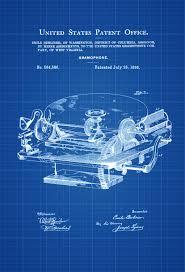 gramophone patent patent print wall decor gramophone poster