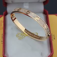 love bracelet gold plated images Cartier love bracelet pink gold plated real paved with diamonds jpg