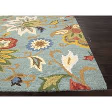 Jaipur Area Rugs Jaipur Rugs Transitional Floral Pattern Blue Multi Wool Area Rug