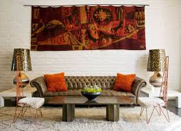 Leather And Tapestry Sofa Stylish Living Room Furnished With Leather Chesterfield Sofa And