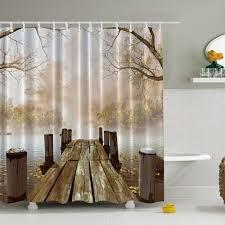 artistic shower curtain bath curtain with fall wooden bridge lake