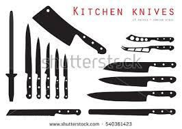 big set kitchen knives names vector stock vector 493820221