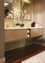 natural stained wooden frame bathroom wall mirror on prefabicated