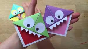 easy paper monster u0026 owl corner bookmarks youtube