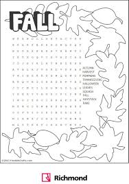 wordsearch fall word puzzle activities fall