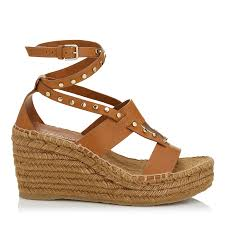 tan vachetta leather wedge sandals with studs danica 80 spring