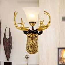Antler Sconces Golden Color Hardware 2 Light Wall Sconces With On Off Switch