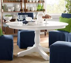 Distressed Pedestal Dining Table White Pedestal Dining Table Visionexchange Co
