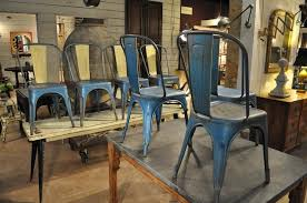 Tolix Bistro Chair Set Of 8 Blue And Cream French Vintage Industrial Tolix Chairs