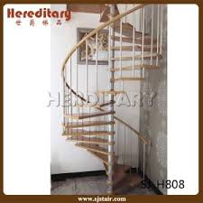 China New Design Vertical Rod Railing Steel Wood Spiral Staircase
