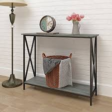 Bookshelf End Table Weathered Grey Oak Finish 3 Tier Metal X Design Occasional Console